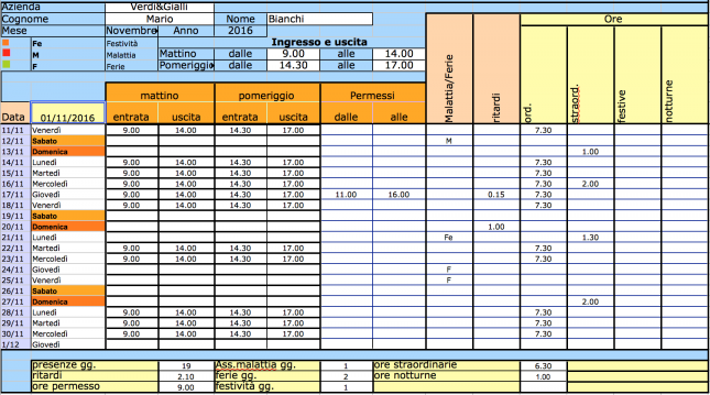 Pin Excel Foglio Presenze E Orario Di Lavoro Del Personale on ...