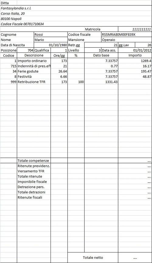Calcolo Busta Paga Con Excel Come Si Fa Esempio Pmi It