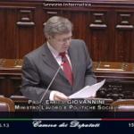 Il ministro del Lavoro Enrico Giovannini alla Camera