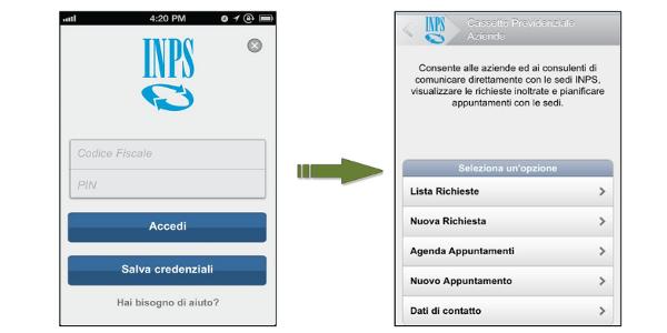 Inps mobile le novit for Inps servizi per aziende e consulenti