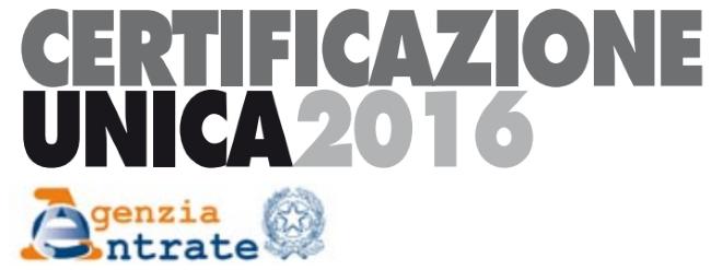 Certificazione Unica - CU 2016