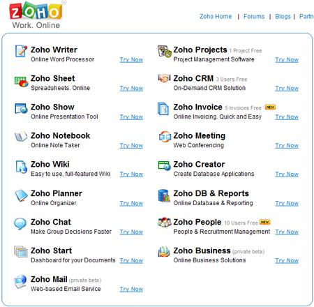 Home page Zoho