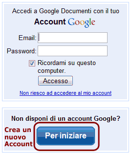 Inserire l'account o crearne uno nuovo
