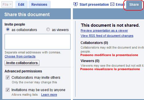 Condividere il documento