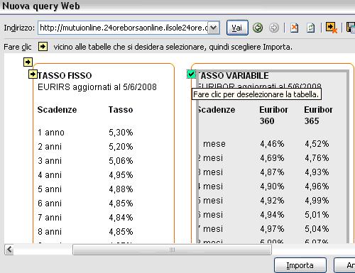 Importare dati dal Web