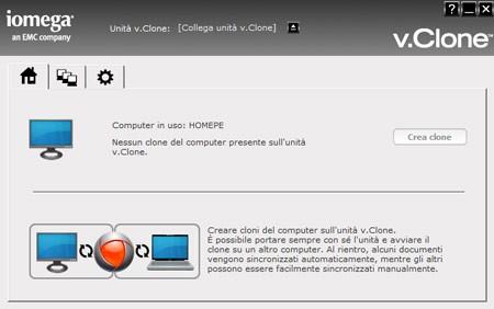 L'interfaccia di v.Clone in italiano