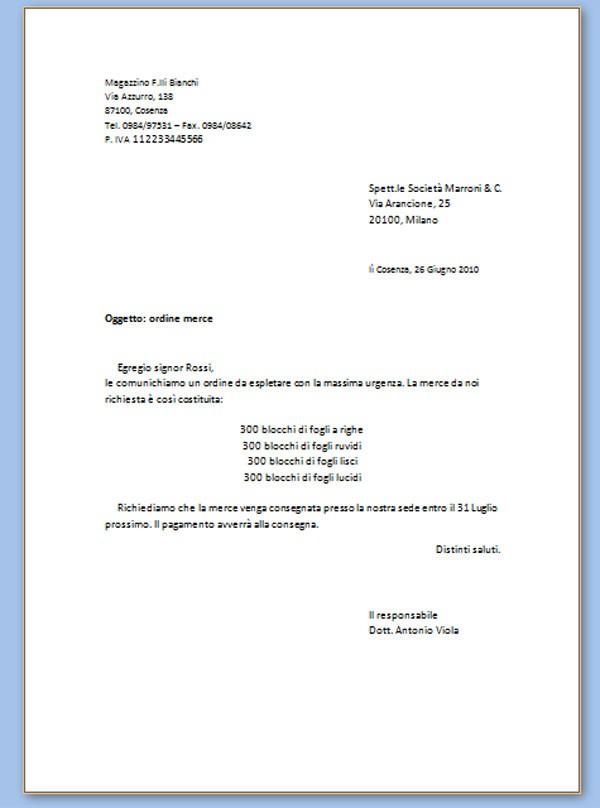 modello lettera commerciale