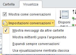 Menù configurazione visualizzazione conversazioni