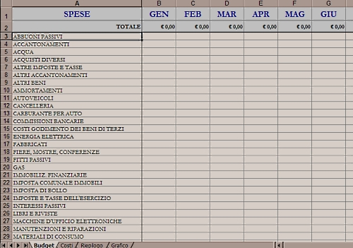 Budget e report dei costi con excel for Piani di coperta e lista dei materiali