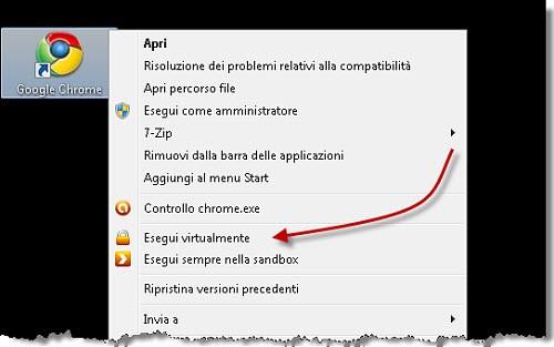 Figura 1: L'esecuzione di un'applicazione nella Sandbox di Avast
