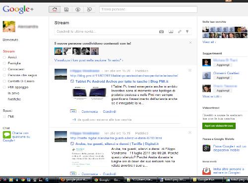 Schermata Google Plus