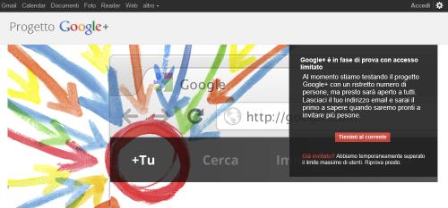 Schermata iniziale Google Plus